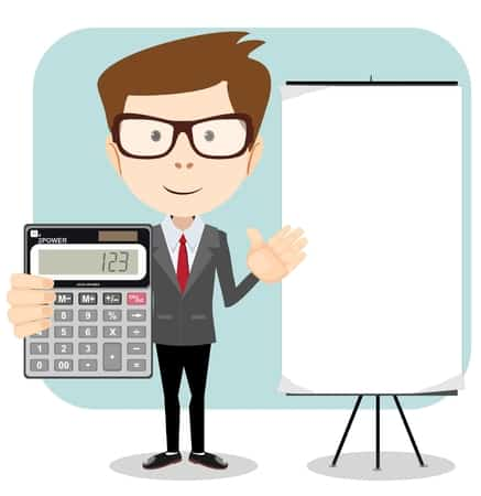 38755970 - accountant with a calculator, vector illustration