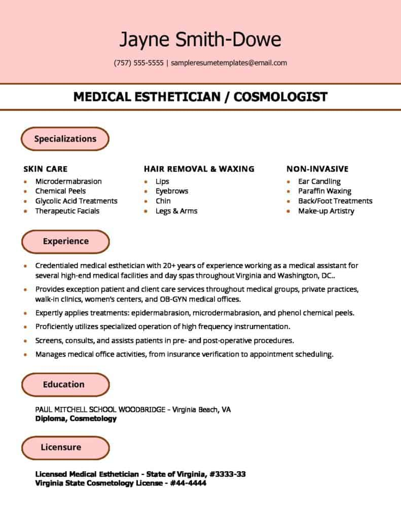 Medical Esthetician Resume Sample
