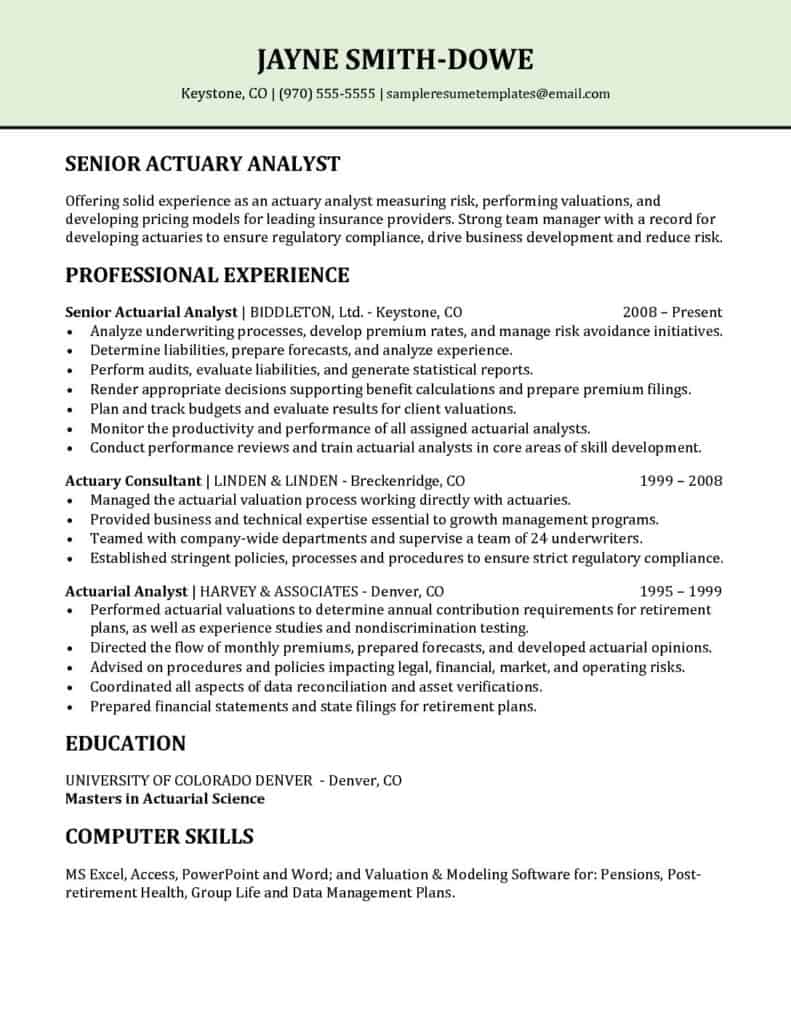 senior actuary analyst resume