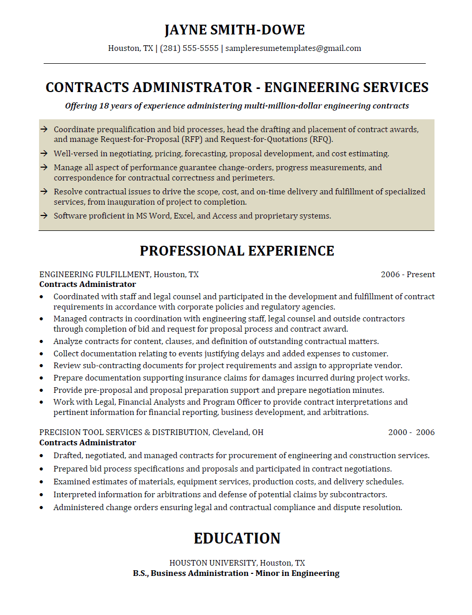 contracts administrator resume