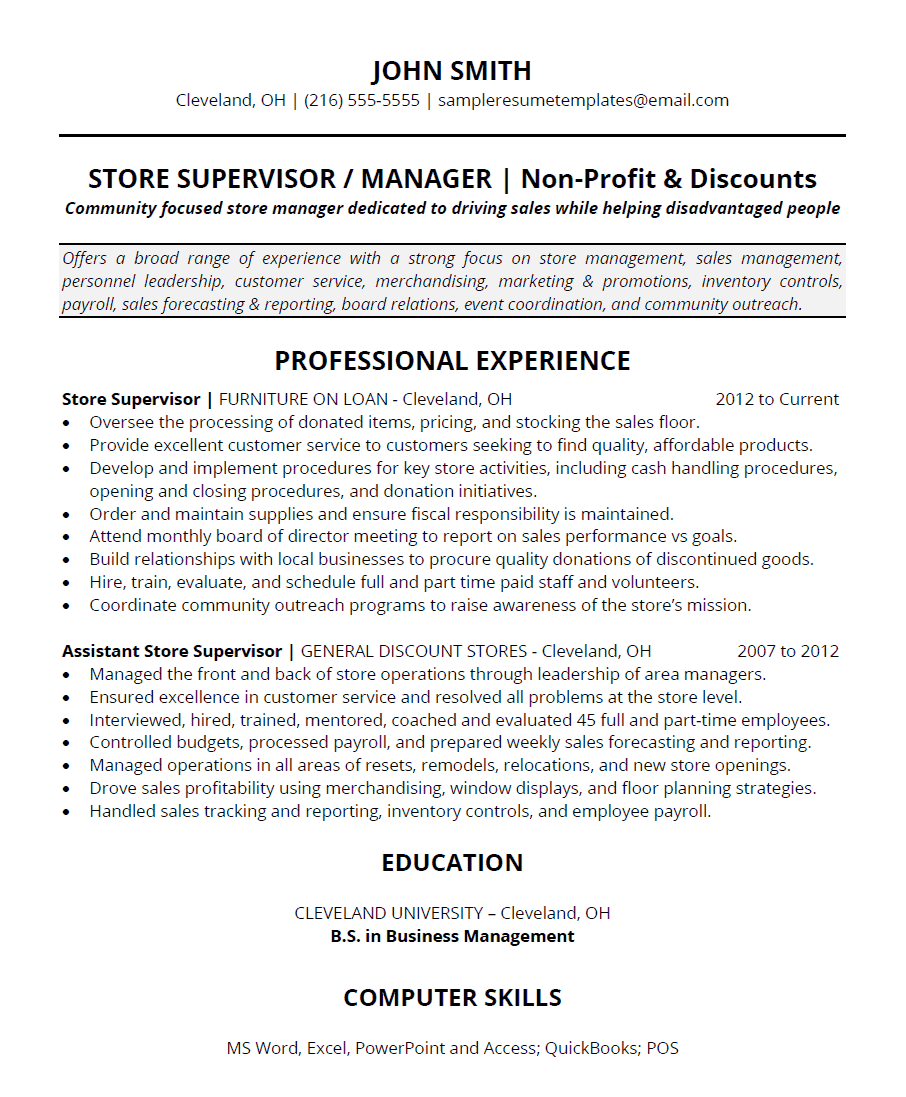 retail thrift and discount store manager resume