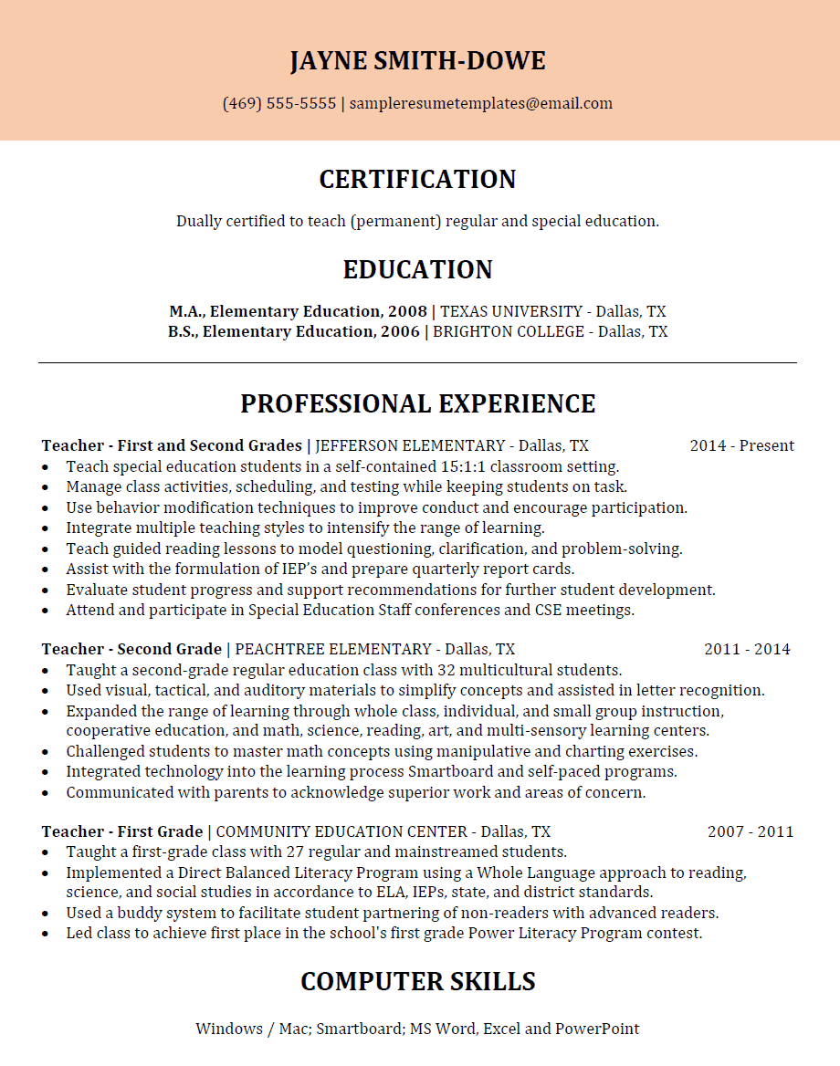 First Second Grade Teacher Resume Sample Resume Templates