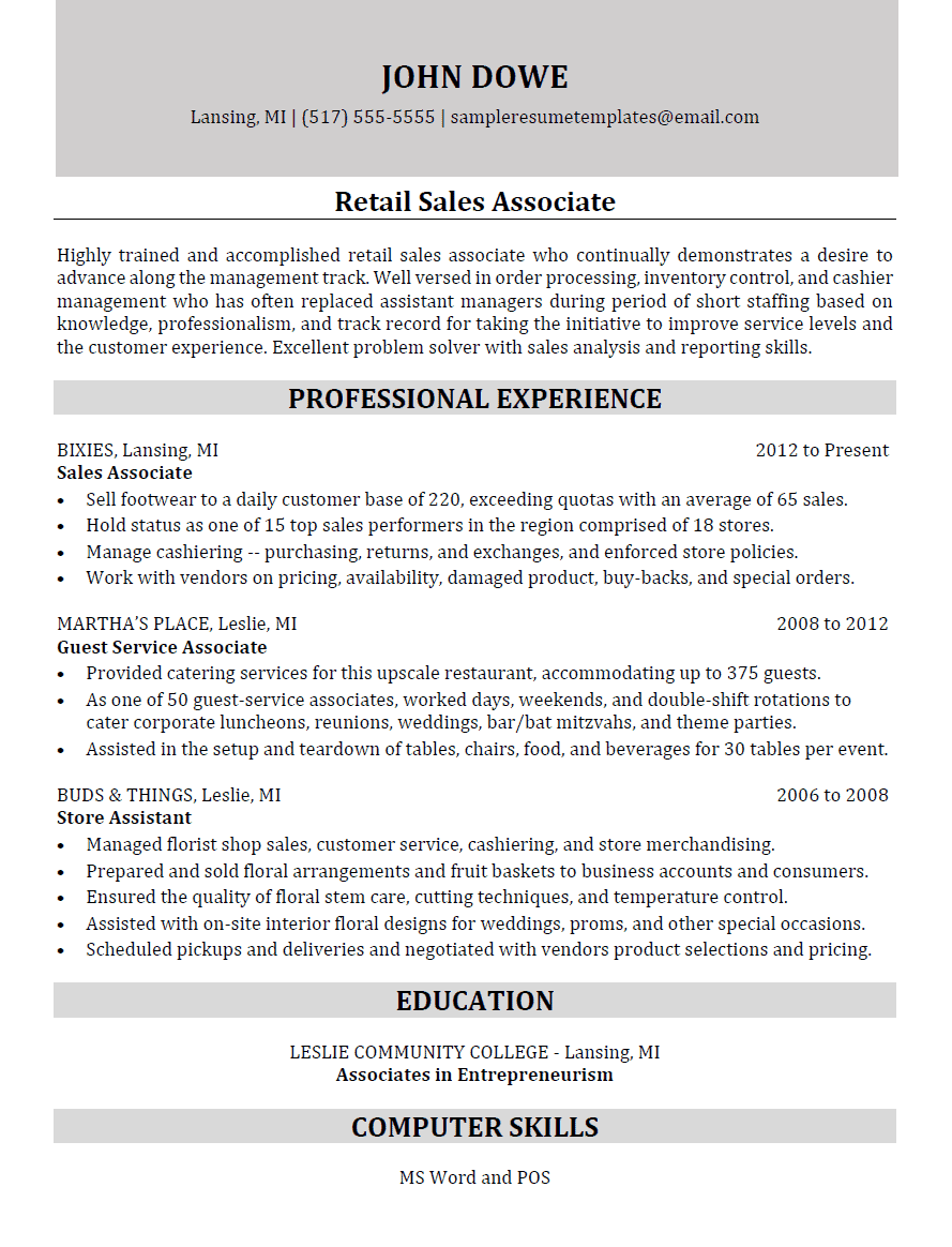 Retail Sales Associate Resume Sample Resume Templates