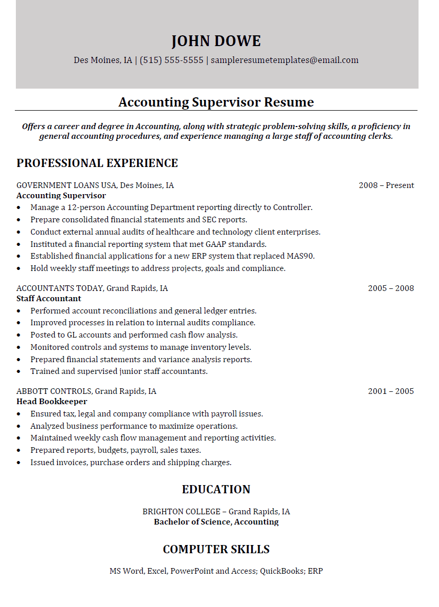 accounting supervisor resume sample resume templates