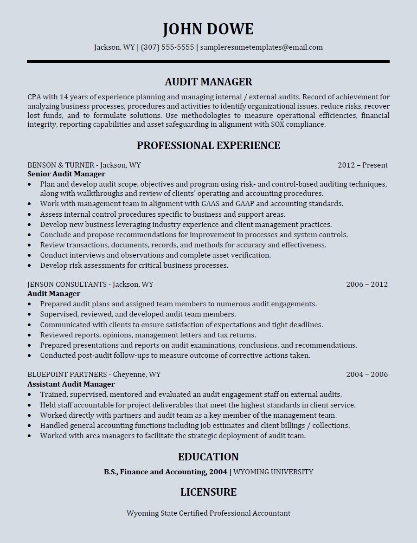 audit manager resume  sample resume templates