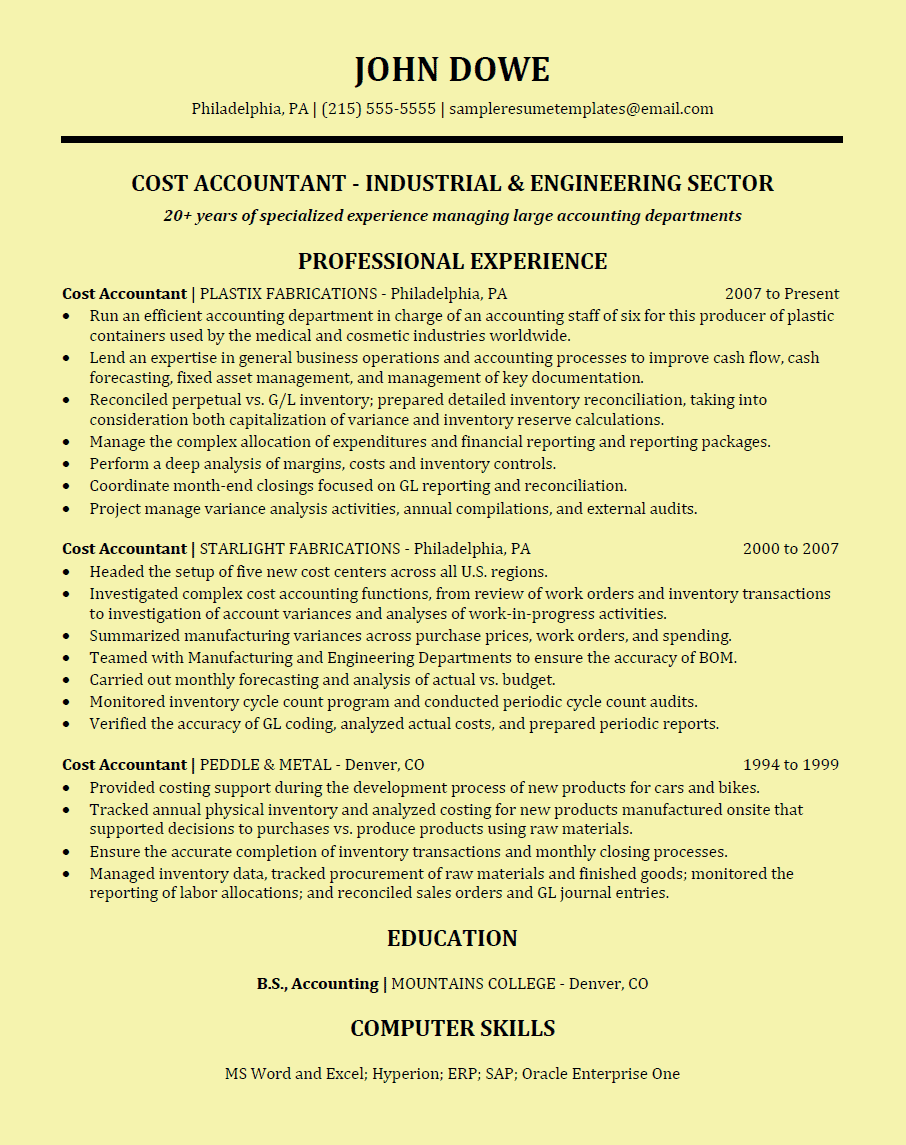 cost accountant resume