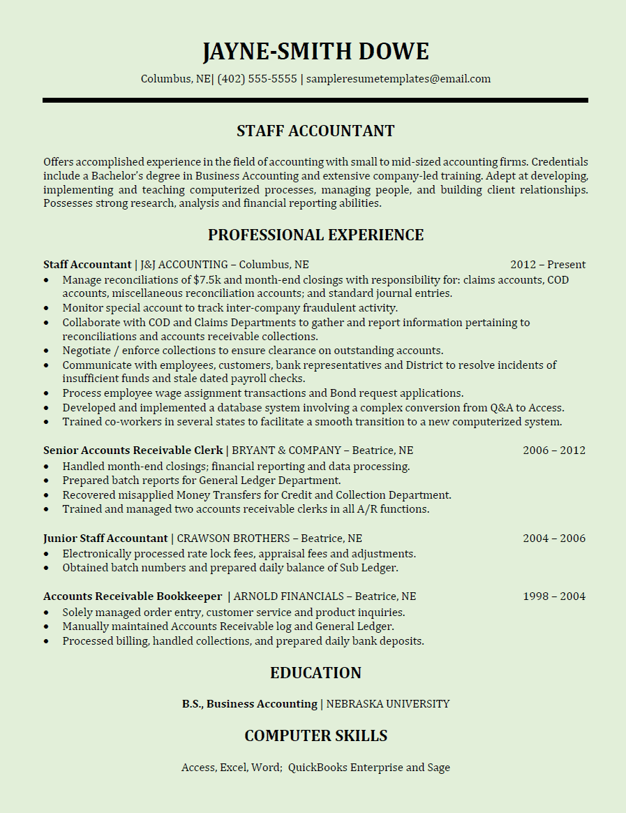 Staff Accountant Resume Sample Resume Templates